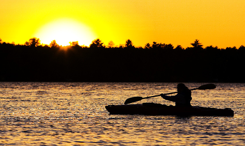 Kayaking During Sunset on Cape Cod